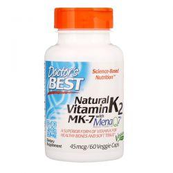 Doctor's Best, Natural Vitamin K2 MK-7 with MenaQ7, 45 mcg, 60 Veggie Caps Pozostałe