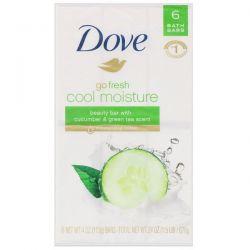 Dove, Go Fresh, Cool Moisture Beauty Bar, Cucumber & Green Tea, 6 Bars, 4 oz (113 g) Each