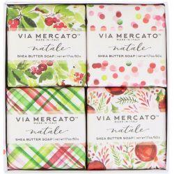 European Soaps, Via Mercato, Natale, Shea Butter Soaps Set, 4 Soaps, 50 g Each