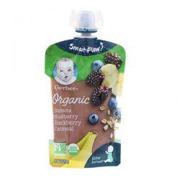 Gerber, Smart Flow , Organic, Banana, Blueberry & Blackberry Oatmeal, 3.5 oz (99 g) Pozostałe
