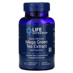 Life Extension, Mega Green Tea Extract, Lightly Caffeinated, 100 Vegetarian Capsules