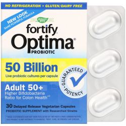 Nature's Way, Fortify Optima Probiotic, Adult 50+, 50 Billion, 30 Delayed Release Vegetarian Capsules Pozostałe