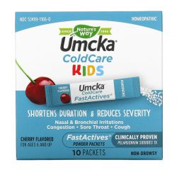 Nature's Way, Umcka, ColdCare Kids, FastActives, For Ages 6 and Up,  Cherry Flavored, , 10 Powder Packets Pozostałe