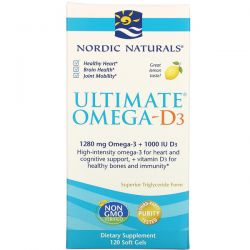 Nordic Naturals, Ultimate Omega-D3, Lemon, 1,000 mg, 120 Soft Gels Pozostałe