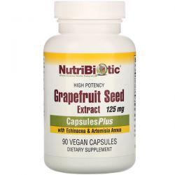 NutriBiotic, Grapefruit Seed Extract with Echinacea & Artemisia Annua, High Potency, 125 mg, 90 Vegan Capsules Pozostałe