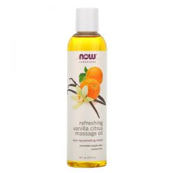 Now Foods, Solutions, Refreshing Vanilla Citrus Massage Oil, 8 fl oz (237 ml) Zagraniczne