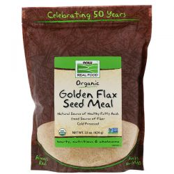 Now Foods, Real Food, Golden Flax Seed Meal, 1.4 lbs (624 g) Pozostałe