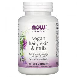 Now Foods, Solutions, Vegan Hair, Skin & Nails, 90 Veg Capsules Pozostałe