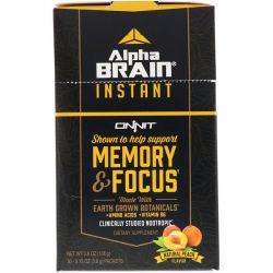 Onnit, Alpha Brain Instant, Memory & Focus, Natural Peach, 30 Packets, 0.13 oz (3.6 g) Each