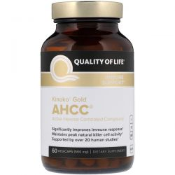 Quality of Life Labs, Kinoko Gold AHCC, Immune Support, 500 mg, 60 Vegicaps Pozostałe