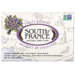 South of France, French Milled Bar Soap with Organic Shea Butter, Violet Bouquet, 6 oz (170 g) Pozostałe