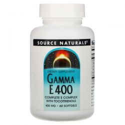 Source Naturals, Gamma E 400 Complex with Tocotrienols, 400 mg, 60 Softgels Pozostałe
