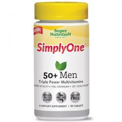 Super Nutrition, SimplyOne, 50+ Men Triple Power Multivitamins, 90 Tablets Zagraniczne