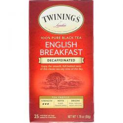 Twinings, 100% Pure Black Tea, English Breakfast, Decaffeinated, 25 Tea Bags, 1.76 oz (50 g) Pozostałe