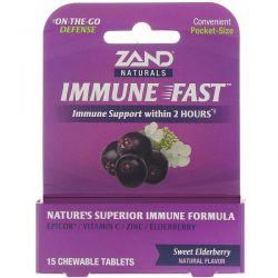 Zand, Immune Fast, Sweet Elderberry, 15 Chewable Tablets Zdrowie i Uroda
