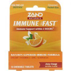 Zand, Immune Fast, Zesty Orange, 15 Chewable Tablets Zdrowie i Uroda