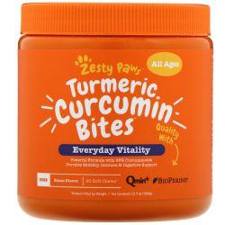 Zesty Paws, Turmeric Curcumin Bites for Dogs, Everyday Vitality, All Ages, Bacon Flavor, 90 Soft Chews Zdrowie i Uroda