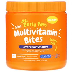 Zesty Paws, 5-In-1 Multivitamin Bites for Dogs, Everyday Vitality, All Ages, Chicken Flavor, 90 Soft Chews, 12.7 oz (360 g) Zdrowie i Uroda