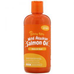 Zesty Paws, Wild Alaskan Salmon Oil for Dogs & Cats, Skin & Coat, All Ages, 16 fl oz (473 ml) Zdrowie i Uroda
