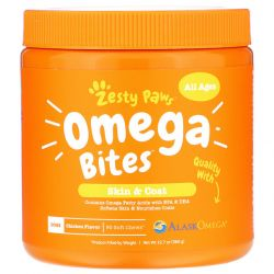 Zesty Paws, Omega Bites for Dogs, Skin & Coat, All Ages, Chicken Flavor, 90 Soft Chews Zdrowie i Uroda
