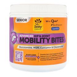 Zesty Paws, Mobility Bites for Dogs, Advanced Hip & Joint, Senior, Chicken Flavor, 90 Soft Chews Zdrowie i Uroda
