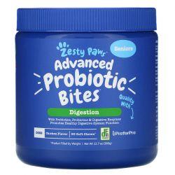 Zesty Paws, Advanced Probiotic Bites for Dogs, Digestion, Seniors, Chicken Flavor, 90 Soft Chews, 12.7 oz (360 g) Zdrowie i Uroda