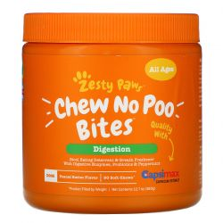 Zesty Paws, Chew No Poo Bites for Dogs, Digestion, All Ages, Peanut Butter Flavor, 90 Soft Chews, 12.7 oz (360 g) Zdrowie i Uroda