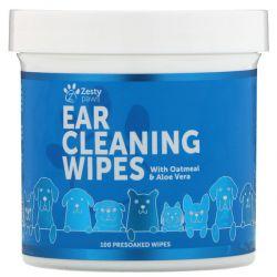 Zesty Paws,  Ear Cleaning Wipes, For Dogs, 100 Presoaked Wipes Zdrowie i Uroda