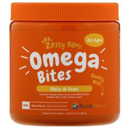Zesty Paws, Omega Bites for Dogs, Skin & Coat, All Ages, Bacon Flavor, 90 Soft Chews Zdrowie i Uroda