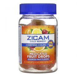 Zicam, Cold Remedy, Medicated Fruit Drop, Assorted Fruit , 25 Drops Zdrowie i Uroda