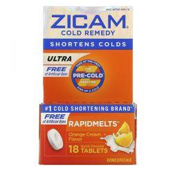 Zicam, Ultra Cold Remedy, RapidMelts, Orange Cream Flavor, 18 Quick Dissolve Tablets Zdrowie i Uroda