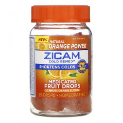 Zicam, Cold Remedy, Medicated Fruit Drop, Ultimate Orange, 25 Drops Zagraniczne