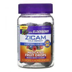 Zicam, Cold Remedy, Medicated Fruit Drops Plus Elderberry, Mixed Berry, 25 Drops Zdrowie i Uroda