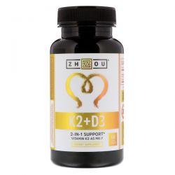 Zhou Nutrition, K2 + D3, 2-In-1 Support, 60 Veggie Capsules Zdrowie i Uroda