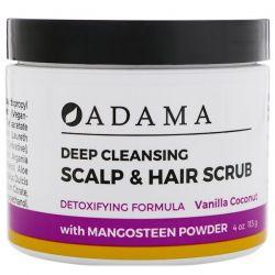 Zion Health, Adama, Deep Cleansing Scalp & Hair Scrub, Vanilla Coconut, 4 oz (113 g) Zdrowie i Uroda