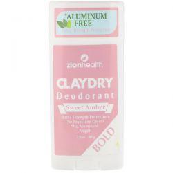 Zion Health, Bold, Clay Dry Deodorant, Sweet Amber, 2.8 oz (80 g) Zdrowie i Uroda