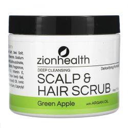 Zion Health, Deep Cleansing Scalp & Hair Scrub with Argan Oil, Green Apple, 4 oz (113 g) Zdrowie i Uroda
