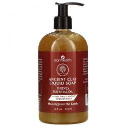 Zion Health, Ancient Clay Liquid Soap, Thieves Essential Oil, 16 fl oz (473 ml) Zdrowie i Uroda