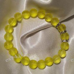 Bransoletka z żółtego naturalnego mołdawitu Przedmioty ręcznie wykonane
