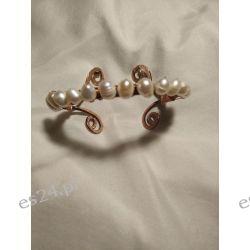 Bransoletka z czystej miedzi i naturalnych pereł słodkowodnych Przedmioty ręcznie wykonane