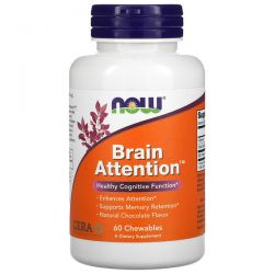 Now Foods, Brain Attention, Natural Chocolate Flavor, 60 Chewables Pozostałe