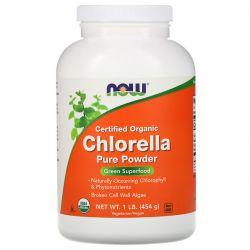 Now Foods, Certified Organic Chlorella, Pure Powder, 1 lb (454 g) Animowane