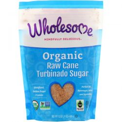 Wholesome, Organic Turbinado, Raw Cane Sugar, 1.5 lbs (24 oz.) - 680 g