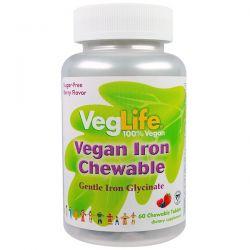 VegLife, Vegan Iron Chewable, Berry Flavor, 60 Chewable Tablets Pozostałe