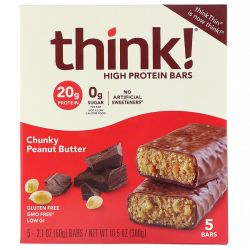 Think !, High Protein Bars, Chunky Peanut Butter, 5 Bars, 2.1 oz (60 g) Each Pozostałe