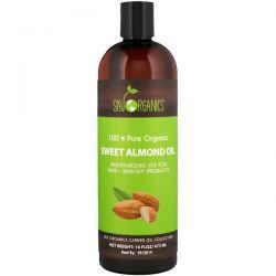 Sky Organics, 100% Pure Organic, Sweet Almond Oil, 16 fl oz (473 ml) Animowane
