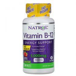 Natrol, Vitamin B-12, Fast Dissolve, Maximum Strength, Strawberry, 5,000 mcg, 100 Tablets Pozostałe