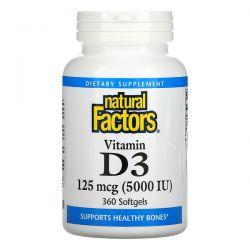Natural Factors, Vitamin D3, 125 mcg (5,000 IU), 360 Softgels Pozostałe