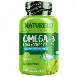NATURELO, Omega-3, Triglyceride Fish Oil, 1,100 mg, 60 Softgels Pozostałe