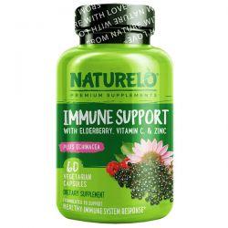 NATURELO, Immune Support with Elderberry, Vitamin C & Zinc plus Echinacea, 60 Vegetarian Capsules Pozostałe